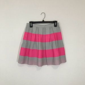 J. Crew Pink and Gray Striped Skirt